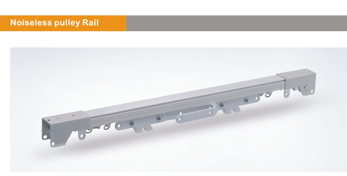 Noiseless pulley rail